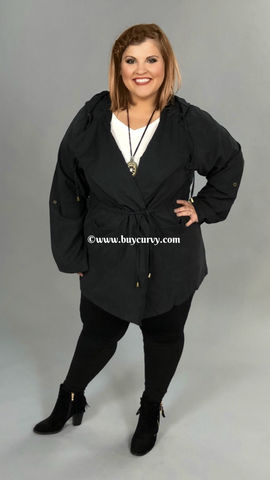 OT-P {Back In Black} Long  with Hood & Drawstring Waist SALE!!