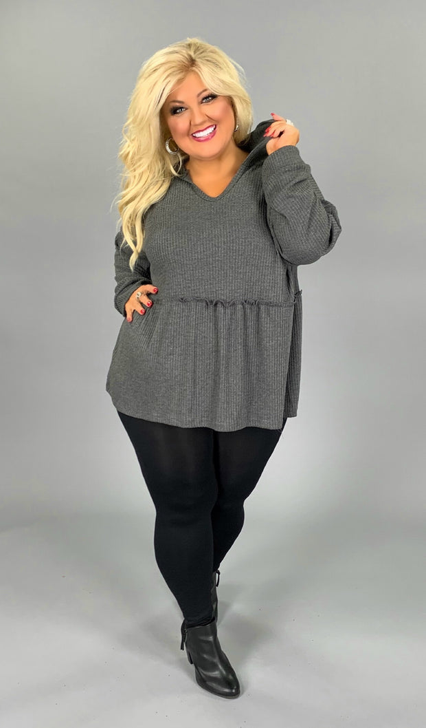 HD-T {Easy Living} Charcoal Waffle-Knit Tunic with Hood Extended Plus SALE!!