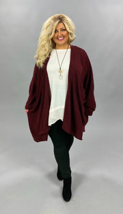 10-06 OT-C {Graceful Ways} Maroon Cardigan EXTENDED PLUS SIZE 3X 4X 5X