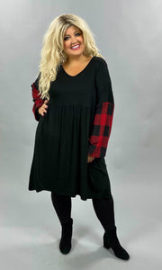 37 CP-E {Know Your Worth} Black Red Plaid Babydoll Tunic PLUS SIZE XL 2X 3X