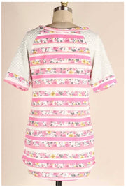 CP-A {All Good Things} Pink Striped Floral Contrast Tunic PLUS SIZE 1X 2X 3X SALE!!