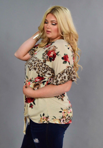 CP-Z {Fun At Last} Leopard Floral Contrast Top with Tie Detail Extended Plus