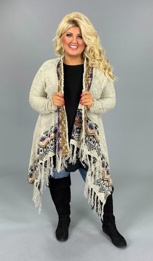 OT-Z{That's My Style} Oatmeal Multi Fringed Cardigan SALE!