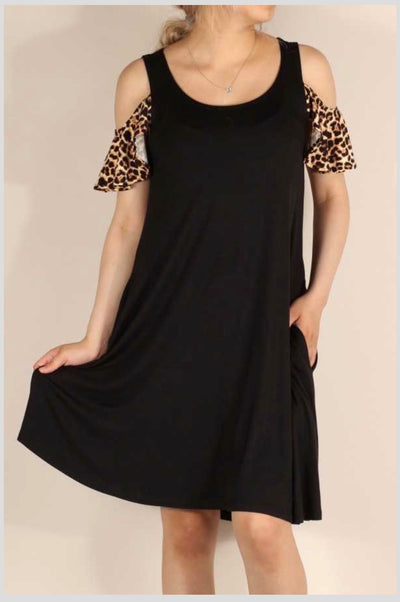 OS-K {All About Details} Black Open Shoulder Dress Leopard Detail PLUS SIZE 1X 2X 3X SALE!!