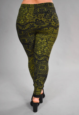 LEG/E- {You're Gonna Love These} Black & Olive Leggings Extended Plus