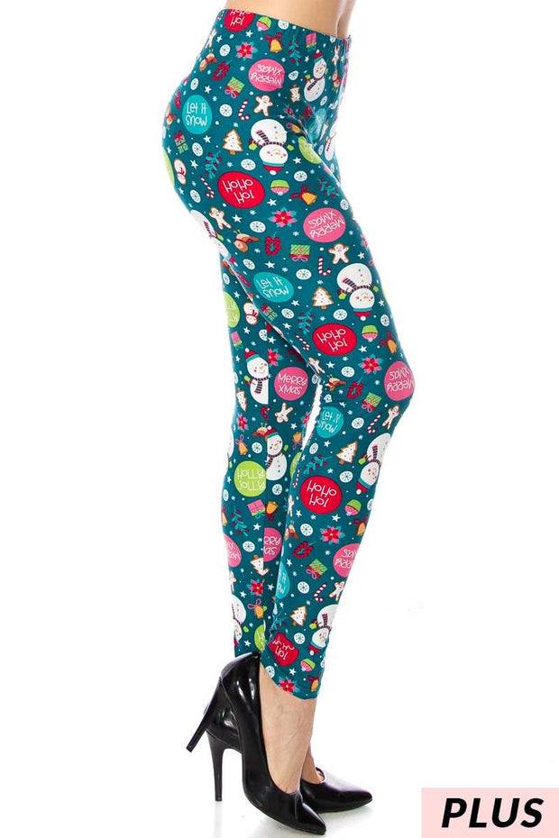 LEG-08 {Cute Holiday} Teal Snowman Leggings PLUS SIZE PLUS