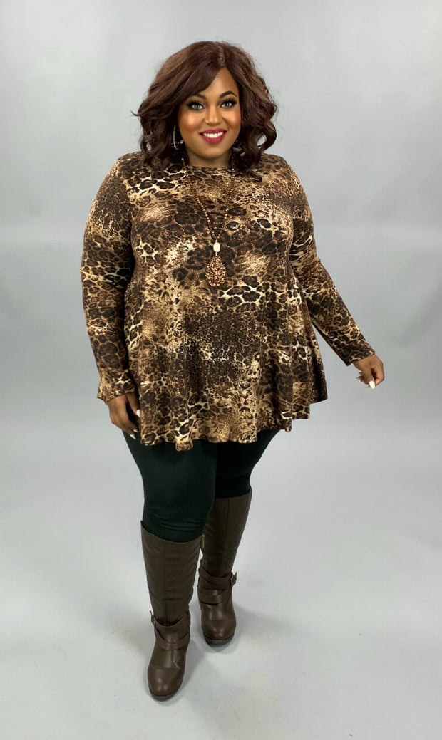 PLS-G {Focus On Good} SALE!!  Brown Tan Leopard Print Knit Tunic EXTENDED PLUS SIZE 3X 4X 5X