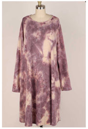 PLS-X {Great Times} Mauve Ivory Tie Dye Knit Dress EXTENDED PLUS SIZE 3X 4X 5X
