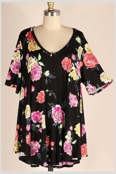 PSS-F {Never Give Up} Black V-Neck Tunic Pink & Yellow Flowers EXTENDED PLUS SIZE 3X 4X 5X