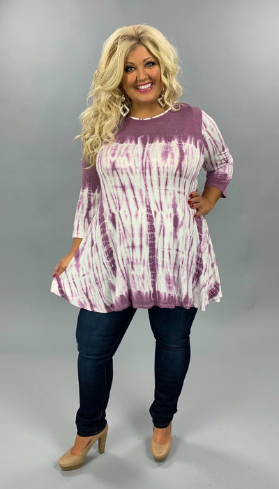 PQ-X {Times Like This} Sangria & Ivory Tie Dye Contrast Tunic *PRINTS MAY VARY* EXTENDED PLUS SIZE 3X 4X 5X