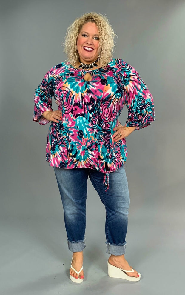 "PQ-G ""Attention Seeker"" Teal/Purple Keyhole Knot Detail Tunic  SALE!!"