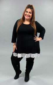 SD-E {Extra Cute} BLACK Top with 3/4 Sleeves & Lace Hem