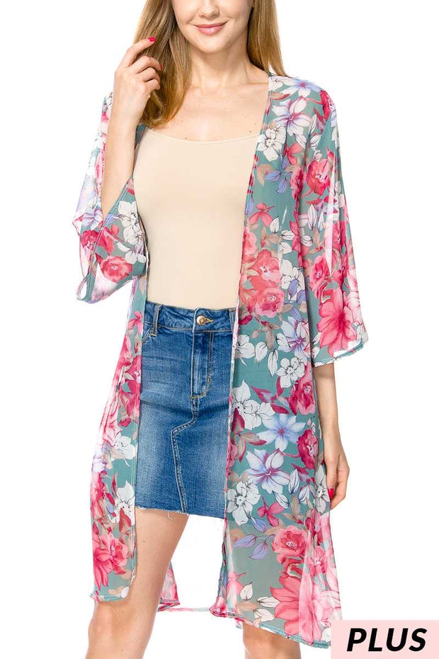 OT-S {Mother Earth} Sheer Sage/Rose/Lilac Floral Cardigan PLUS SIZE 1X 2X 3X SALE!!