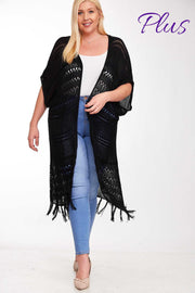 OT-A {Black Out} Boho Cardigan With Fringe & Back Lace Insert PLUS SIZE 1X 2X 3X SALE!!