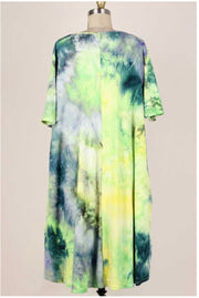 49 PSS-D {Save A Moment} Green Blue Tie Dye Ribbed Dress EXTENDED PLUS SIZE 3X 4X 5X