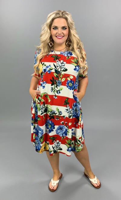 PSS-S {Look For Love} Red Ivory Stripe Floral Flutter Sleeve Dress EXTENDED PLUS SIZE 3X 4X 5X SALE!!
