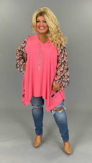 CP-S {Springtime Joy} Coral Pink V-Neck Tunic/Navy Floral Sleeve EXTENDED PLUS SIZE 3X 4X 5X 6X