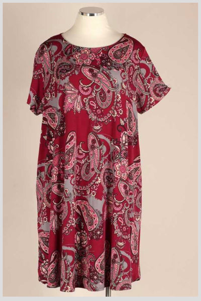 PSS-F {Absolutely Stunning} Burgundy Paisley Print Dress EXTENDED PLUS SIZE 3X 4X 5X