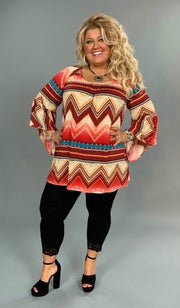 PQ-R {Hold Me Closer} Aztec Print Tunic with Bell Sleeves