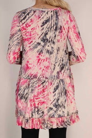 49 PQ-J {Take Note} Pink Grey Tan Abstract Print Tunic PLUS SIZE XL 2X 3X