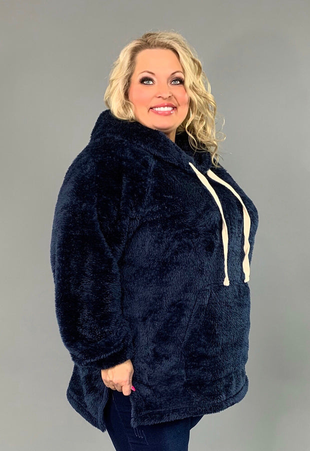 HD-T {The Cozy Touch} NAVY Faux Fur Hoodie