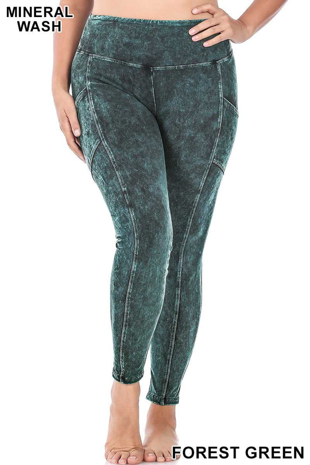 LEG-24 {All Good} Hunter Green Mineral Wash Leggings PLUS SIZE XL 2X 3X