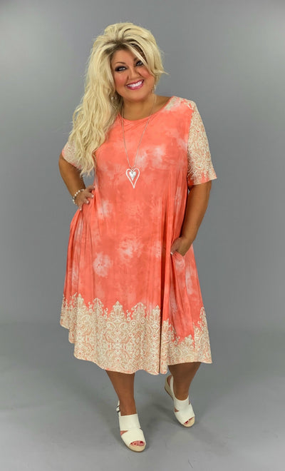 PSS-F {Melon-choly Baby} Textured Dress Extended Plus Size 3X 4X 5X