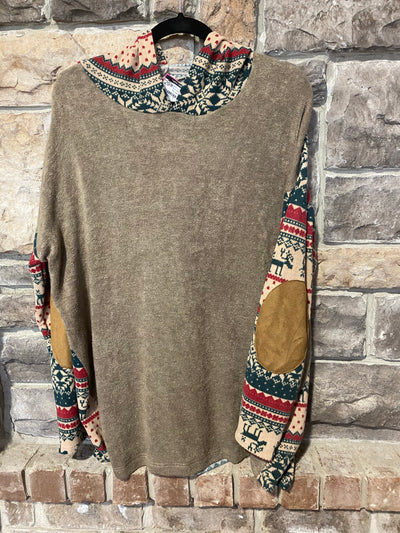 CP-J Taupe Knit with Red/Green Reindeer Print