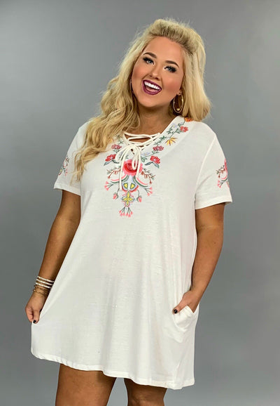 "SD-C *{Beyond Words} ""UMGEE"" White Floral Dress with Pockets FLASH SALE!"