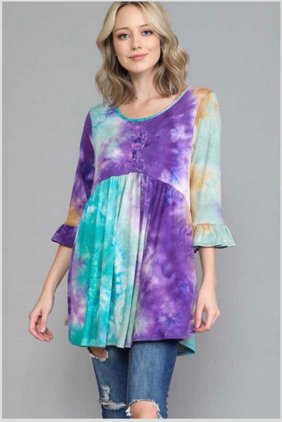 49 PQ-H {Call Me Royalty} Mint Teal Purple Tie Dye Tunic EXTENDED PLUS SIZE 4X 5X 6X