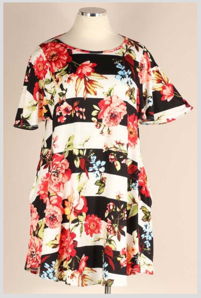 PSS-J {What I Like} Black Ivory Stripe Floral Flutter Sleeve Dress EXTENDED PLUS SIZE 3X 4X 5X SALE!!