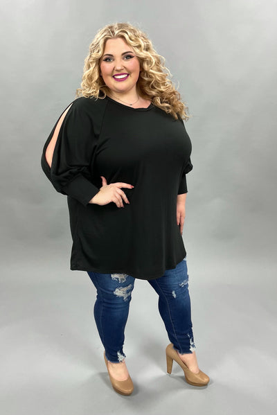 62 SQ-C {Pull You Closer} Solid Black Open Sleeve Tunic CURVY BRAND EXTENDED PLUS SIZE 3X 4X 5X 6X