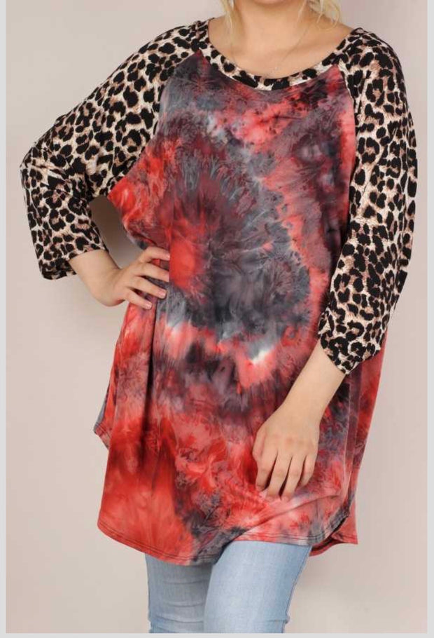 61 CP-E {Show Off} Pink/Navy Leopard Tie-Dye Contrast Top EXTENDED PLUS SIZE 3X 4X 5X