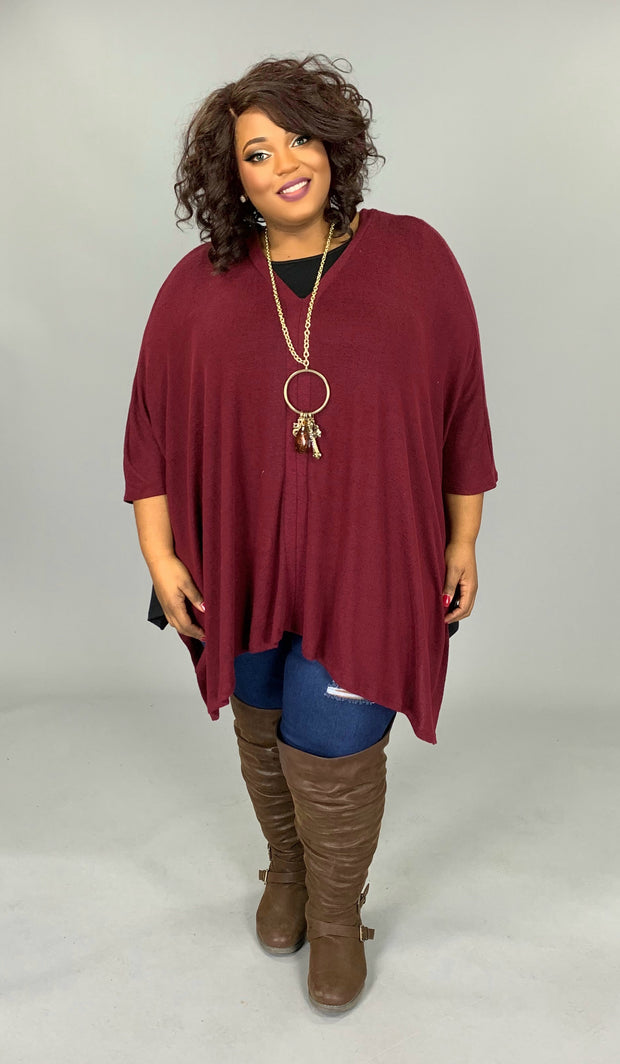 PQ-Y {Always Classy} V-Neck Burgundy Sweater Poncho PLUS SIZE 1X 2X 3X