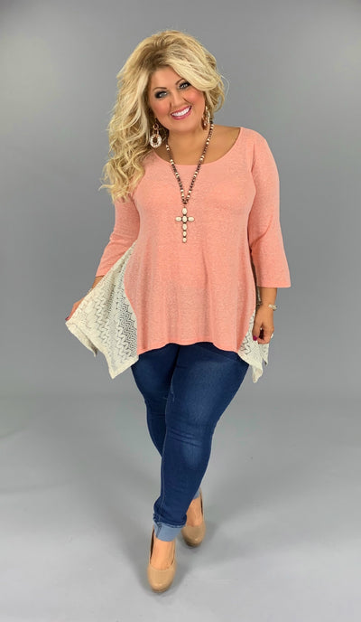 SD-T (Graceful Sway) UMGEE Peach Tunic W/ Crochet Detail PLUS SIZE XL, 1X, 2X