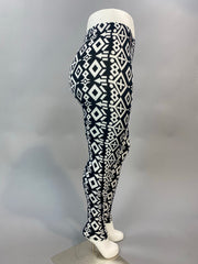 PLS/1- Black & White Vertical Aztec Print Leggings