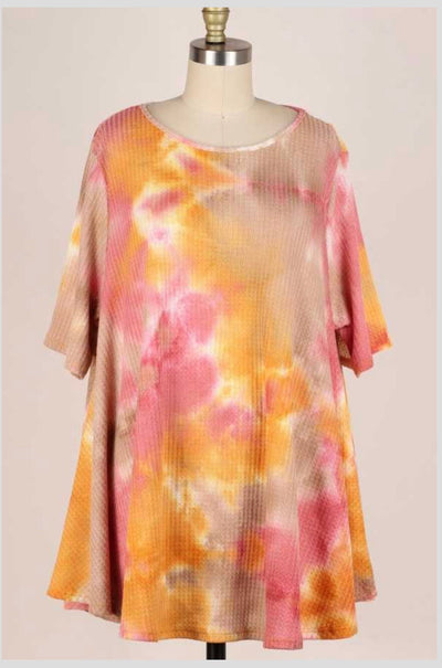 53 PSS-G {Curvy Sunset} Orange Pink Tie Dye Tunic Extended Plus 3X 4X 5X