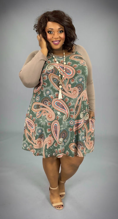 CP-OL {Say Anything} Taupe/Green Paisley Contrast Dress