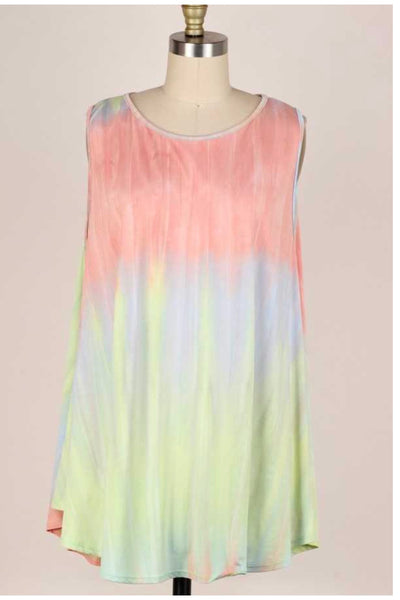 53 SV-B {Summer Streaks} Multi-Color Tie Dye Tunic Extended Plus 3X 4X 5X