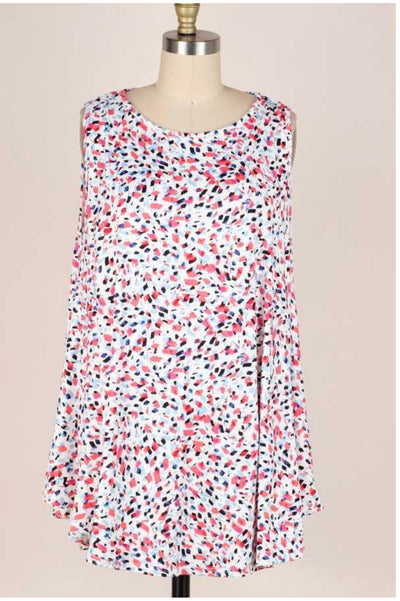 54 SV-N {Confetti Up} Blue Coral  White Sleeveless Tunic EXTENDED PLUS 3X 4X 5X