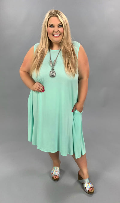 SV-I {Cool Summer} Mint Sleeveless Dress Extended Plus 3X 4X 5X SALE!!