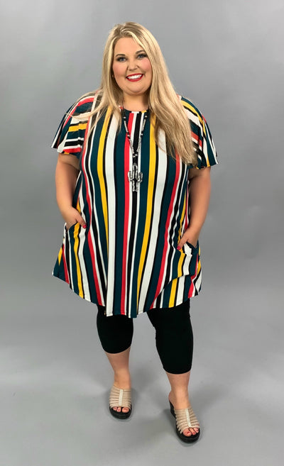 PSS-C {Charming Lady} Multi Color Vertical Stripe Tunic PLUS SIZE 1X 2X 3X