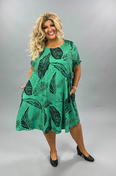 PSS-Z {Throw & Go} Green Leaf Print Dress W/Pockets BUTTER SOFT EXTENDED PLUS SIZE 3X 4X 5X