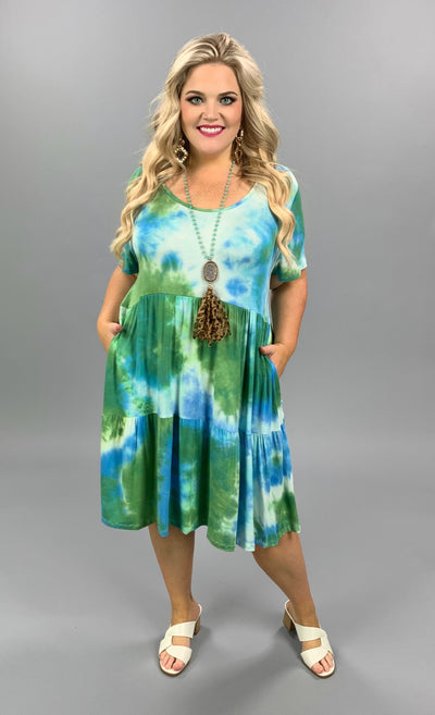 PSS-B {Discover The World} Green & Blue Tie Dye TIered Dress PLUS SIZE 1X 2X 3X