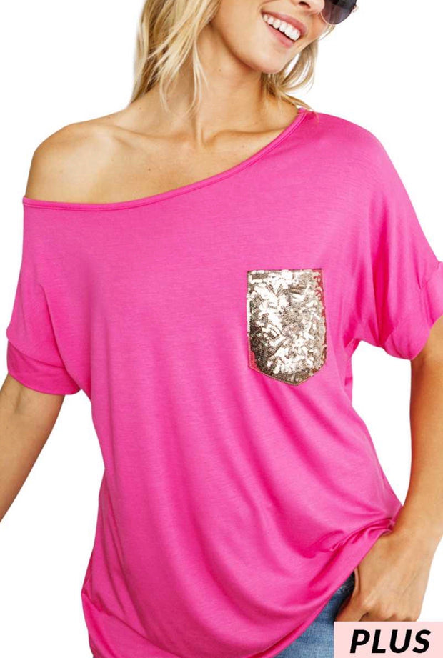 SD-L {Glitter Girl}  SALE!! Pink Top W/ Gold Sequined Pocket PLUS SIZE 1X 2X 3X SALE!!