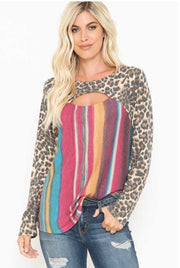 11-14 CP-D {Finish Line} Multicolor Stripe Leopard Top PLUS SIZE XL 2X 3X