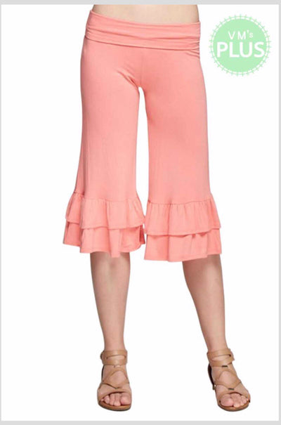 BT-X {Forever Yours} Peach Capri Pants with Ruffle Bottom