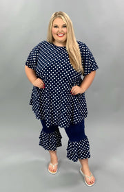SET-A (Rocking My Dots) Navy Polka Dot Set (Top & Bottom)  EXTENDED PLUS 3X 4X 5X 6X CURVY BRAND SALE!!