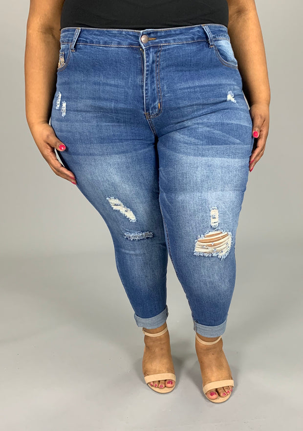 BT-C (Country Days) Cropped Jeans W/ Detail Pockets PLUS SIZE