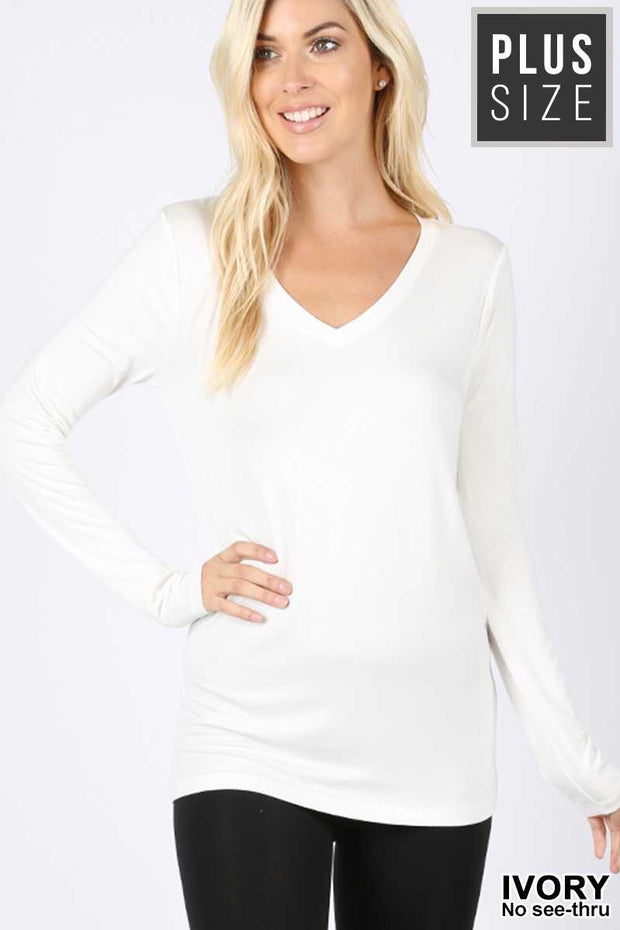 45 SLS-T {Better Than Average} White V-Neck Tunic Plus Size 1X 2X 3X